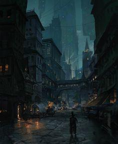 Fantasy City, Fantasy Places, Fantasy World, Fantasy Art Landscapes, Fantasy Landscape, Fantasy Concept Art, Dark Fantasy Art, Steampunk City, Alternate Worlds