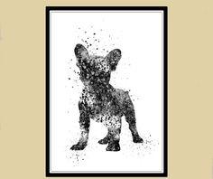 French Bulldog, watercolor art print, animal painting, home decor, watercolor…