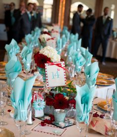 Tiffany Blue and Red wedding  all the colors as a table idea set up