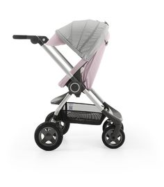 NEW for 2015! Stokke® Scoot™ Stroller in Soft Pink Textile Fabric – Grows with baby from newborn to 45lbs! Info on www.stokke.com