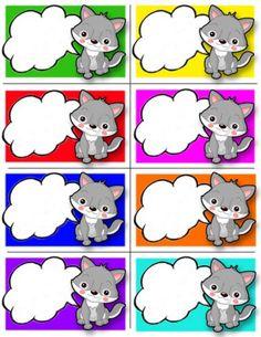 Etiquettes chats pour enfants.