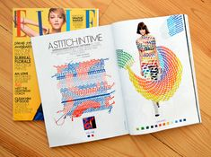 ELLE Magazine - Evelin Kasikov – CMYK embroidery and Typographic Design – London