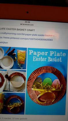 Paper Plate Basket, Paper Plates, Basket Crafts, Easter Baskets