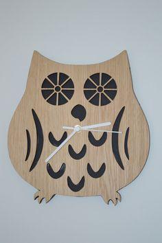 Owl clock laser cut from Double sided Oak Veneer  29 by 27cm