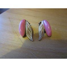 "New Listing Started vintage clip on goldtone earrings cream enamel/lucite stone 1.25""long £1.45"