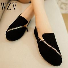 9.34$  Buy now - http://aliqnr.shopchina.info/go.php?t=32801167657 - WZV women flat shoes 2017 new spring shoes casual and comfortable flat shoes size 35-40 Black / brown Zipper flat women shoes   #shopstyle