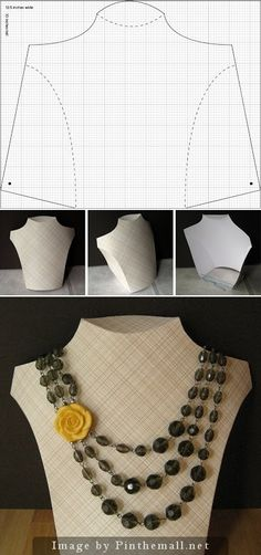 """""""Great, simple tutorial for making a cardboard necklace display. I intend to make a few with different fabrics and papers glued to the cardboard for various fiber art jewelry displays."""" #KnittingGuru http://www.pinterest.com/KnittingGuru Click on the stellaandhodge blog to get the instructions."""