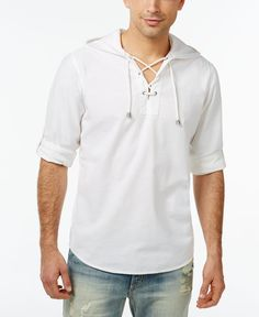 Inc International Concepts Enrique Hooded Popover Shirt, Only at Macy's