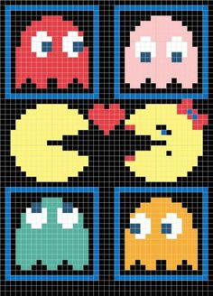Crochet Blankets For Men PacMan with ghosts - I got a few requests for my pac-man pillow chart so I decided to post it. The pillow was done using Tunisian crochet. If you look at my earlier post my first ravelry swap you can find out all about… Crochet Pattern Free, Crochet Chart, Crochet Blanket Patterns, Crochet Blankets, 8 Bit Crochet, Crochet Cross, Cross Stitch Designs, Cross Stitch Patterns, Embroidery Stitches