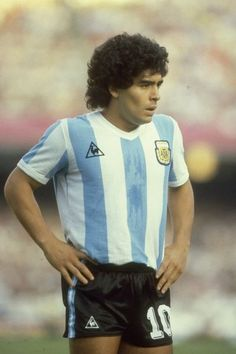 Portrait of Diego Maradona of Argentina during a match against Belgium in the 1982 World Cup in Spain Mandatory Credit Steve Powell/Allsport God Of Football, Legends Football, Football Images, Football Icon, Football Soccer, Fifa, Soccer Scores, Diego Armando, Classic Football Shirts