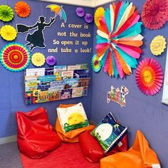 Class Displays, School Displays, Classroom Displays, Classroom Themes, Library Displays, Disney Classroom, Preschool Classroom, Future Classroom, Classroom Activities