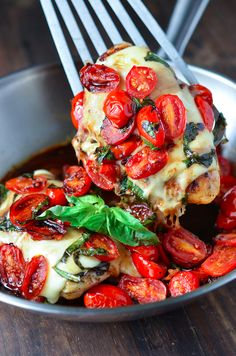 Caprese Chicken....Delicious healthy dinner in under 30 minutes? Count me in! The recipe is easily divided and can be made just for twoand as long as you watch your cheese and olive oil its also ass friendly