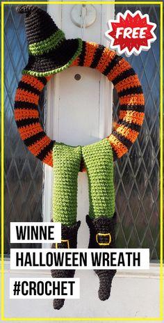 crochet Winne Halloween Wreath pattern - easy crochet Halloween Pattern for beginners Crochet Christmas Garland, Crochet Wreath, Crochet Fall, Holiday Crochet, Halloween Blanket, Halloween Crochet Patterns, Halloween Knitting, Crochet Patterns For Beginners, Craft Stick Crafts