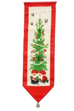 Vintage 70s Swedish Christmas Calendar Gnomes Wall Hanging