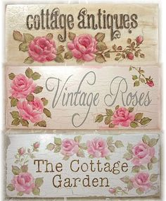 Shabby Cottage Chic Handpainted Signs