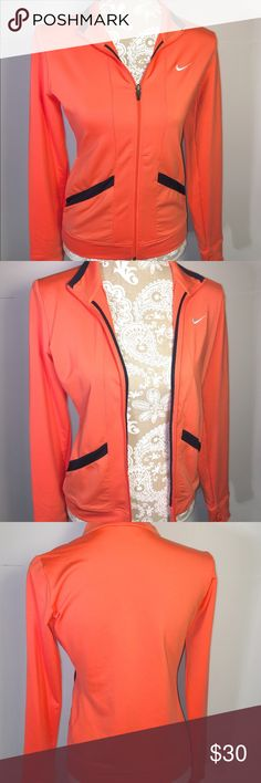 HP⭐️ NIKE ladies Drifit athletic soft track jacket Women's NIKE Dri fit coral & black trim full zip athletic soft track jacket. Size Large. Runs small. Can fit a S-M comfortably or L would be fitted. Full zip, 2 front angle pockets, amazing condition, has