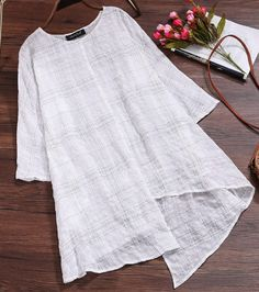 Asymmetrical Tunic Idea Sewing Blouses, Linen Blouse, Loose Tops, Casual Tops, Sleeve Styles, Blouses For Women, Plus Size Fashion, Long Sleeve Tops, Tunic Tops