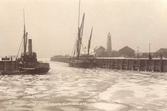 Whitstable frozen sea 1929 at the Harbour