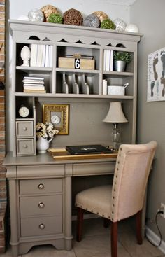 "Painted Furniture - Love this color! ""Earthy stoneware"" by Better Homes & Gardens, and the metal knobs. home office desk decor inspiration Furniture Projects, Furniture Makeover, Office Furniture, Home Furniture, Hutch Makeover, Office Desk, Coaster Furniture, Furniture Design, Bedroom Furniture"