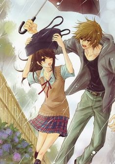 ✮ ANIME ART ✮ anime couple. . .romantic. . .love. . .sweet. . .caught in the rain. . .umbrella. . .school uniform. . .plaid skirt. . .knee socks. . .blushing. . .embarrassed. . .cute. . .kawaii