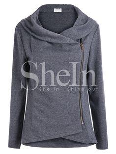Shop Dark Grey Long Sleeve Asymmetric Zip Outerwear online. SheIn offers Dark…