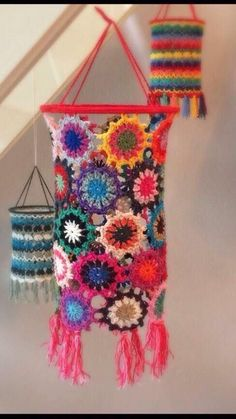 Crochet lanterns....... #TextileWaste #Upcycle #Recycle #DIY #GreenLiving #Handmade #DIY #Craft #Reuse #Repurpose #BohemianSpirit #Crochet Lampe Crochet, Crochet Lampshade, Crochet Curtains, Crochet Art, Crochet Crafts, Crochet Flowers, Crochet Projects, Crochet Ideas, Crochet Pattern Free