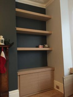 Alcove units with floating shelves. Push to open latches with reverse sprung kitchen hinges. Internal shelf for SKY+ box and network router/HDD by www. Alcove Ideas Living Room, Living Room Shelves, Home Living Room, Living Room Designs, Alcove Bookshelves, Alcove Cupboards, Corner Shelves, Bookcases, Wall Shelves