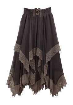 I love the layered handkerchief skirt, make it floor length, two-tone (Light burnt sienna and forest green) and keep the corseted closure