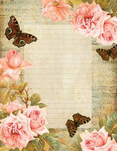 ❥❥ #papeldecarta #butterflies #roses #pinkroses #vintage #shabbychic