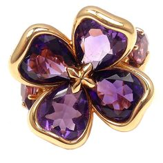 CHANEL CAMELIA Gold Purple Amethyst Ring, ca. 1970s