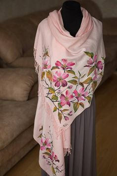 Items similar to Wedding Cover Ups Scarves evening shawl women's Valentine's Day gifts mom hand painted cashmere scarf silk batik shawl for dress gifts on Etsy Hand Painted Dress, Painted Clothes, Dress Painting, Fabric Painting, Textiles, Fabric Paint Shirt, Embroidery Suits Punjabi, Fabric Paint Designs, Evening Shawls