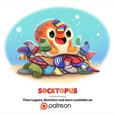 Socktopus by piper thibodeau cute animal drawings, kawaii drawings, cute Cute Animal Drawings, Kawaii Drawings, Cartoon Drawings, Cute Drawings, Cute Creatures, Mythical Creatures, Chibi, Animal Puns, Dibujos Cute