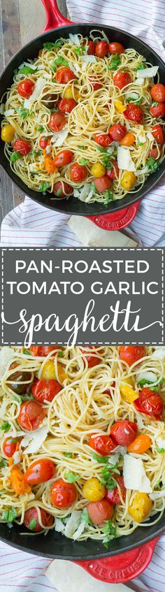 This lightning fast weeknight meal relies on an emulsified sauce to deliver luscious flavor with simple, fresh ingredients - spaghetti, cherry tomatoes, and garlic. Quick and easy pasta for dinner tonight! #spaghetti #weeknightdinner #meatlessmeals