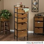 Holly & Martin Argyle Iron/Wicker Five-Drawer Unit. A perfect balance between function and design, this beautiful 5-drawer wicker storage unit accents any traditional dcor. The black frame and cherry top are enhanced by the abundant wicker baskets. O