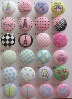 When Cali is old enough to sleep in my current bed I am going to make it a princess bed and let her pick what Knobs she wants! <3 Love these 16 & 7 especially!