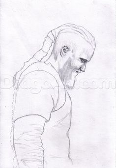 how to draw ragnar lothbrok from vikings step 5