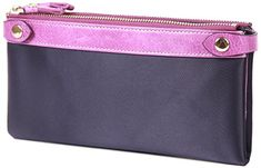 Borgasets Womens Genuine Leather Zipper Wallet Purple ** Check out this great product.