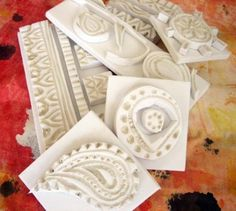 stamps made from craft foam..using heat