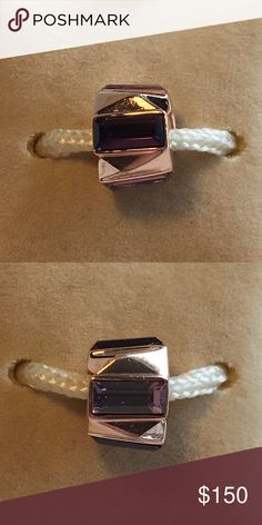 Authentic Chamilia Charm (rare) Light & dark Purple Swarovski Crystals set in Rose Gold NWOT Chamilia Jewelry Bracelets