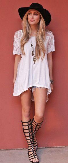 #Boho #white #dress & #gladiator #sandals