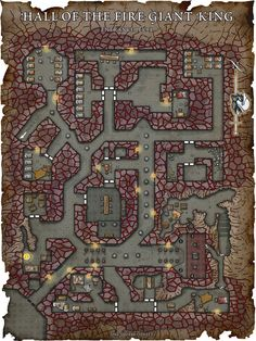 Fantasy Maps by Robert Lazzaretti | Map#1 Hall of the Fire Giant King. ENTRANCE LEVEL