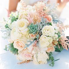 bridal bouquet -  romantic pastels, astilbe, dahlias, roses, succulents