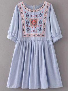 Striped Embroidered Smock Mini Dress - LIGHT BLUE M
