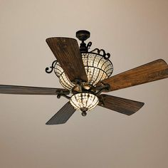 """54"""" Craftmade Cortana In Peruvian With Crystal Ceiling Fan - #T4015-17375-T4018 