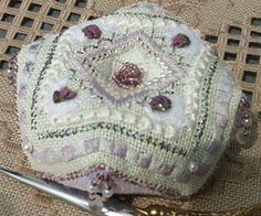 Heart tuffet biscornu free pattern. click on free patterns link for more patterns