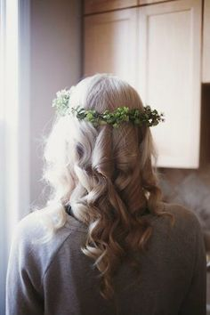 This budget friendly bride chose DIY flower-crowns over bouquets for her bridal party