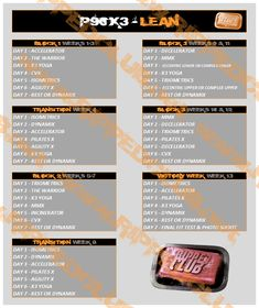 P90X3 Lean Schedule                                                                                                                                                     More