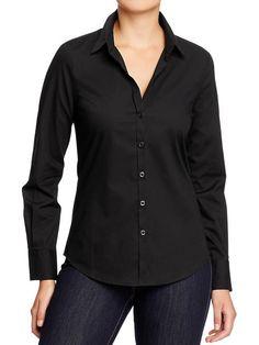 Black Button Up Dress Shirt Womens