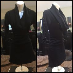 BLK SWEATER Blk long sweater or dress. Gold embellishments. One missing. Stretches. As shown. Size fits most large and extra large womans Dresses