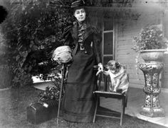 Alice Austen with her dog, Punch, 1893